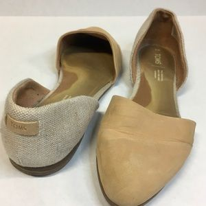 Toms Honey Leather Sparkle Woven D'Orsay Flat 9